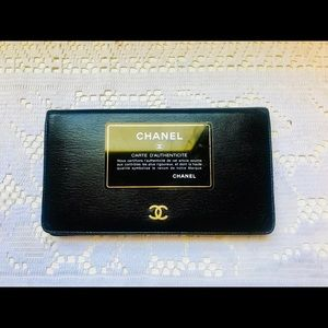 CHANEL CC Logos Quited Long Wallet Black Leather